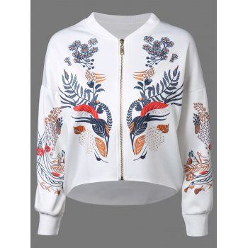 Printed Dipped Hem Zip Up Jacket