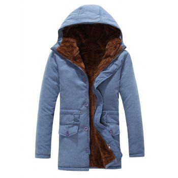 Zipper Button Hooded Padded Coat