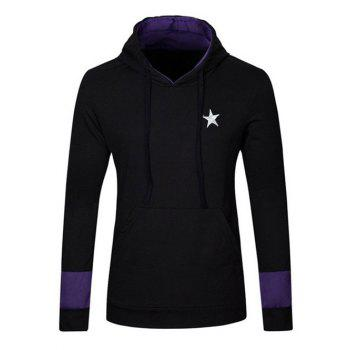 Star Embroidered Kangaroo Pocket Drawstring Pullover Hoodie