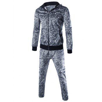Leopard Zip Up Hoodie and Casual Pants Twinset