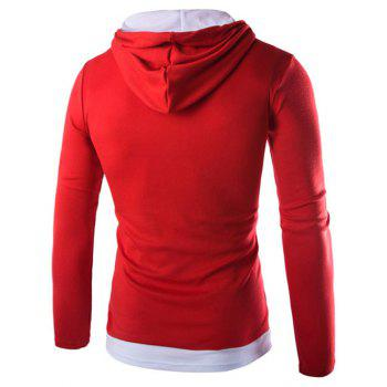 Drawstring Flag Pattern Contrast Trim Pullover Hoodie - RED M