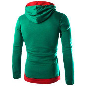 Drawstring Flag Pattern Contrast Trim Pullover Hoodie - GREEN M