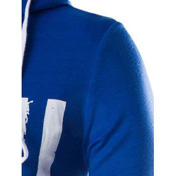 Drawstring Flag Pattern Contrast Trim Pullover Hoodie - BLUE 2XL