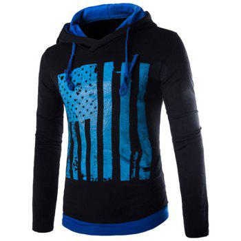 Drawstring Flag Pattern Contrast Trim Pullover Hoodie