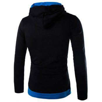 Drawstring Flag Pattern Contrast Trim Pullover Hoodie - BLUE/BLACK M