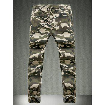 Beam Feet Drawstring Camouflage Cargo Pants