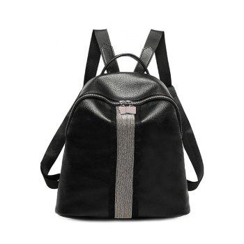 Metal Textured Leather Beading Backpack