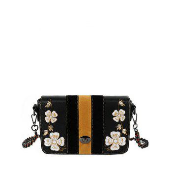 Embroidery Striped Pattern Flower Crossbody Bag