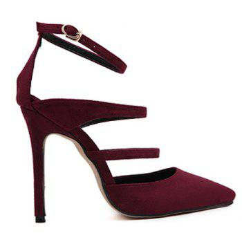 Strappy Pointed Toe Pumps - WINE RED 39