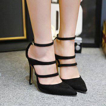 Strappy Pointed Toe Pumps - BLACK BLACK