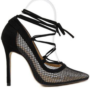 Plaid Pattern Splicing Cross Straps Pumps - BLACK 37