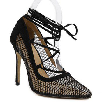 Plaid Pattern Splicing Cross Straps Pumps