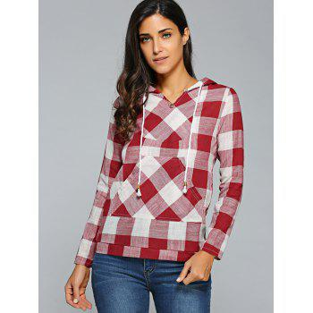 Kangaroo Pocket Plaid Motif Hoodie - Rouge M