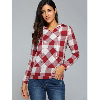 Kangaroo Pocket  Plaid Pattern Hoodie - RED M