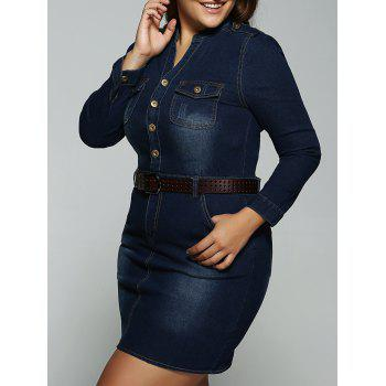 Plus Size Belted V Neck Fitted Jean Shirt Dress