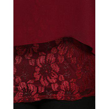 Plus Size Lace Spliced Asymmetric Chiffon Top - WINE RED WINE RED