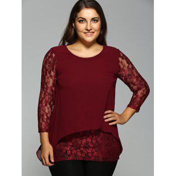 Plus Size Lace Spliced Asymmetric Chiffon Top - WINE RED 2XL