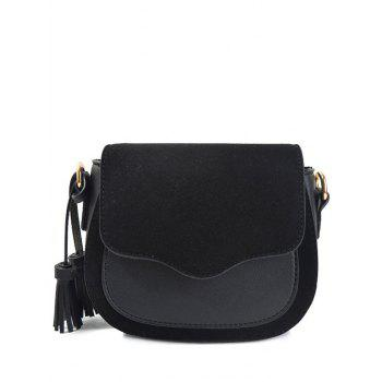 Splicing Magnetic Closure Tassels Crossbody Bag