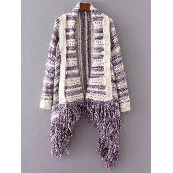 Striped Fringed Cape Cardigan