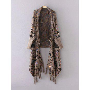 Fringed Jacquard Cape Cardigan