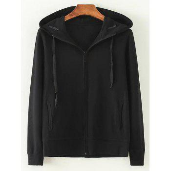 Hooded Cotton Zip-Up Loose Jacket