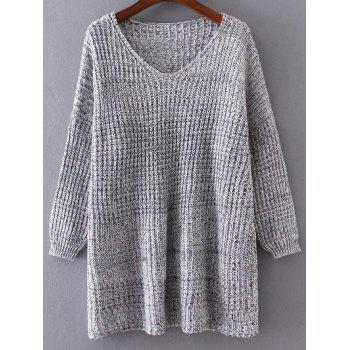 Drop Shoulder Variegated Oversized Sweater