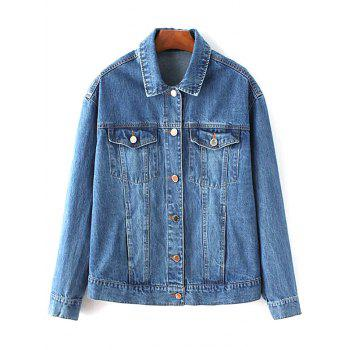 Turn-Down Collar Denim Embroidered Jacket