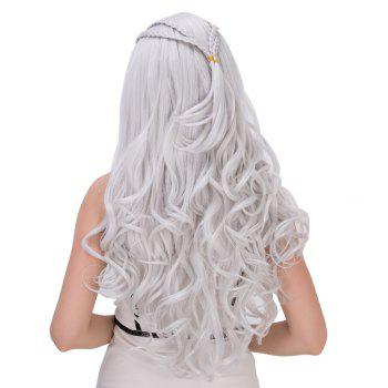 Exquisite Long Shaggy Wavy Cosplay Synthetic Wig - SILVER WHITE