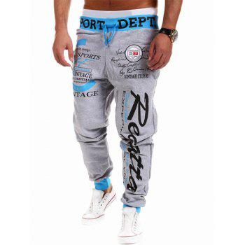 Beam Feet Lace-Up Letters Print Jogger Pants