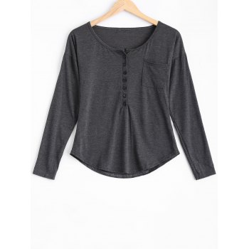 Buttoned Loose Casual T-Shirt - DEEP GRAY M