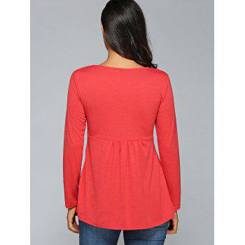 Manches à encolure carrée froncée long T-shirt - Rouge L