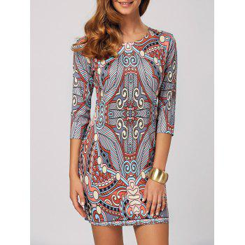 Abstract Print Bodycon Mini Dress