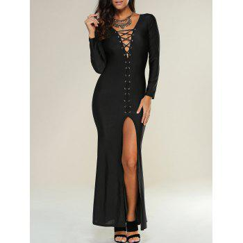 Lace Up Maxi Slit Formal Party Dress with Long Sleeves
