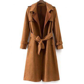 Faux Suede Fitting Belted Wrap Trench Coat