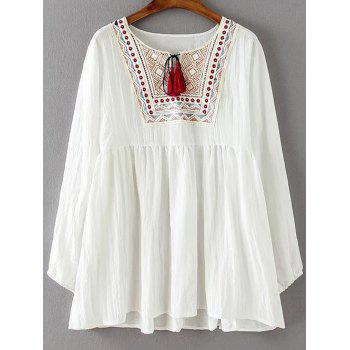Ruched Embroidered Loose Blouse