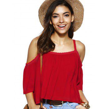 Spaghetti Strap Solid Color Loose Fitting Blouse - RED S