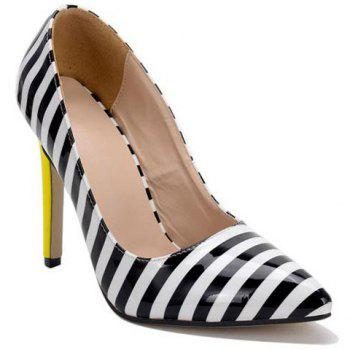 Patent Leather Color Block Striped Pattern Pumps