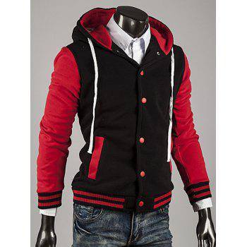 Color Block Stripe Spliced Hooded Varsity Hoodie - RED 2XL