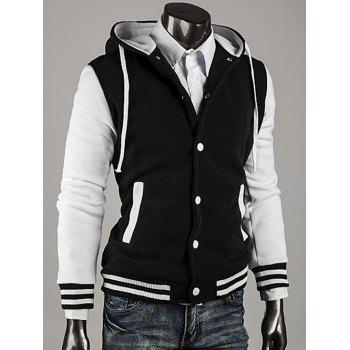 Color Block Stripe Spliced Hooded Varsity Hoodie - WHITE XL