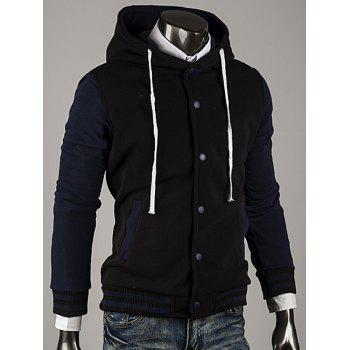 Color Block Stripe Spliced Hooded Varsity Hoodie - CADETBLUE L