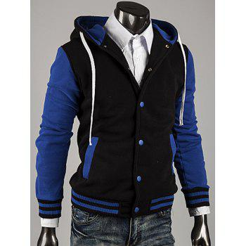 Color Block Stripe Spliced Hooded Varsity Hoodie - BLUE M