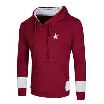 Star Embroidered Kangaroo Pocket Drawstring Pullover Hoodie - WINE RED 2XL