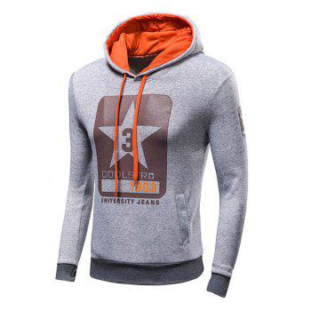 Drawstring Letter Print Pullover Hoodie - LIGHT GRAY 2XL