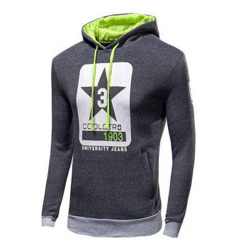 Drawstring Letter Print Pullover Hoodie - DEEP GRAY M