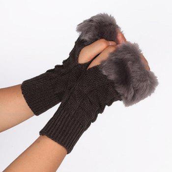 Faux Fur Plaid Knit Fingerless Gloves - DEEP GRAY