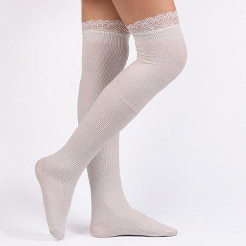 Lace Edge Knit Stockings - WHITE