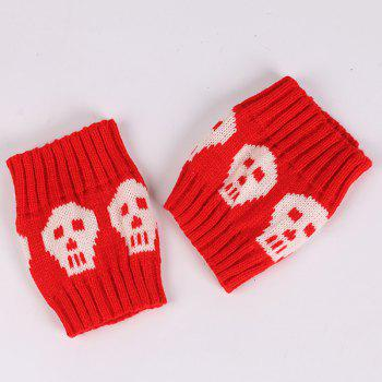 Skull Pattern Boot Cuffs -  RED