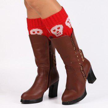 Skull Pattern Boot Cuffs - RED RED