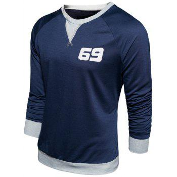 Crew Neck Long Sleeve Number Print Sweatshirt - CADETBLUE L