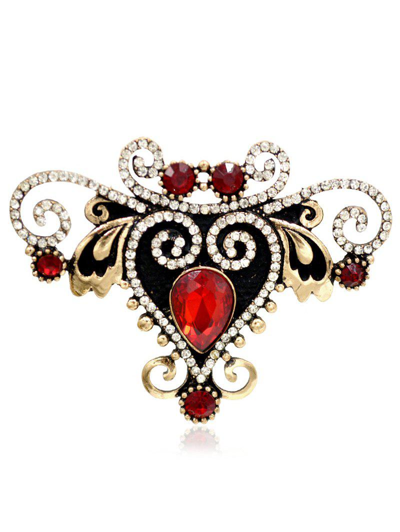 Broche Vintage Gemstone strass Faux - Rouge